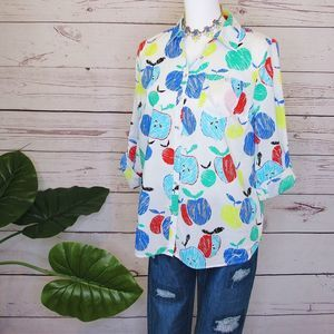 Talbots Colorful Apple Novelty Print Button Top LP